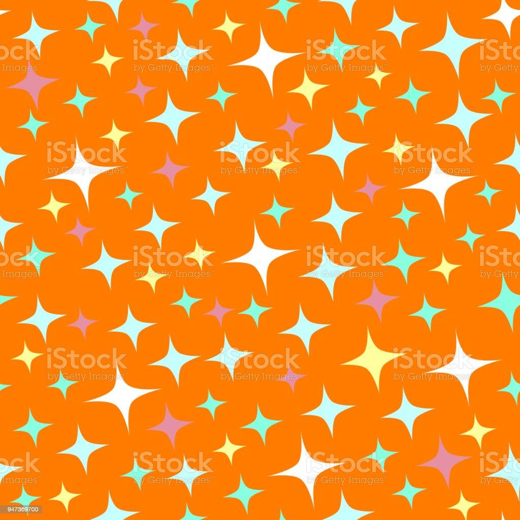 Seamless pattern with sparkles on orange background. vector art illustration