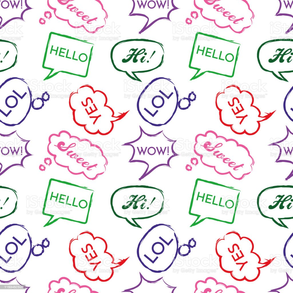 Seamless Pattern With Speech Bubbles With The Word Welcome