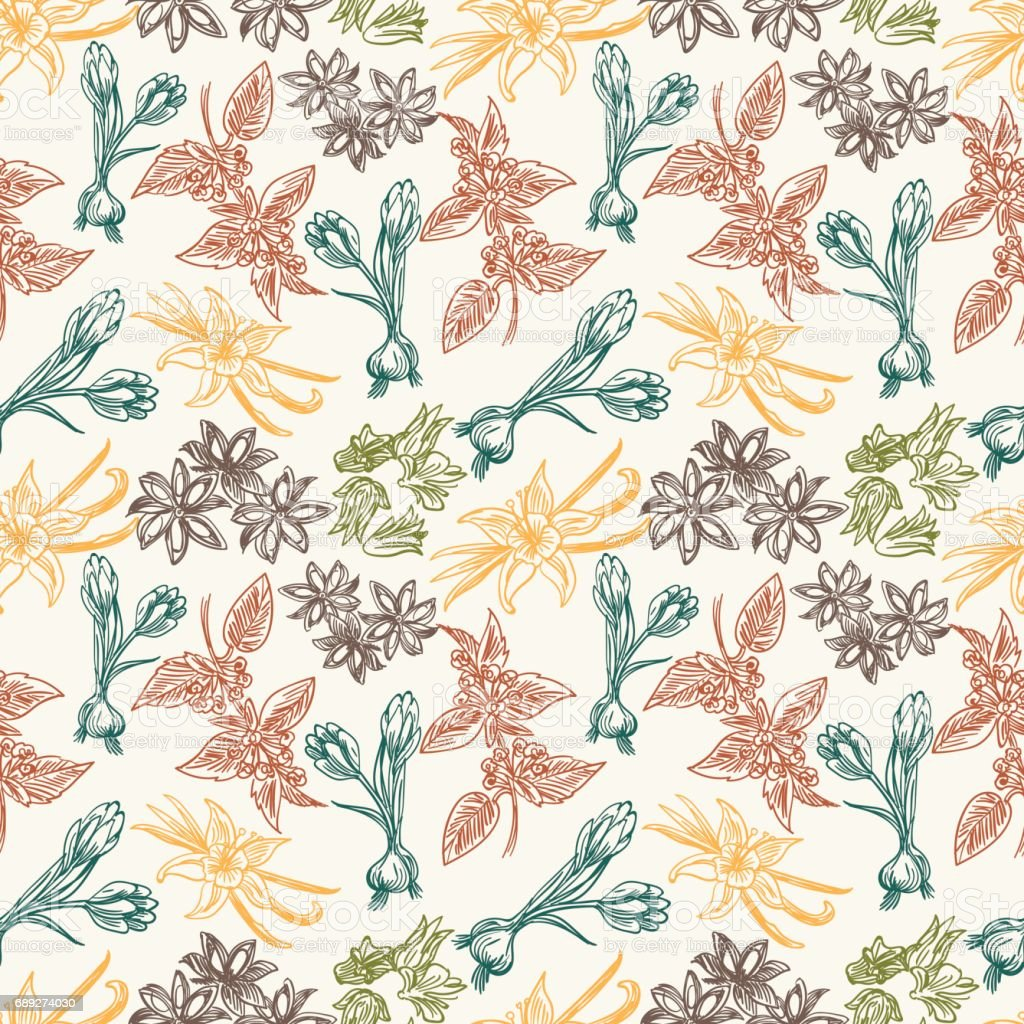 Seamless pattern with spice herbs vector art illustration