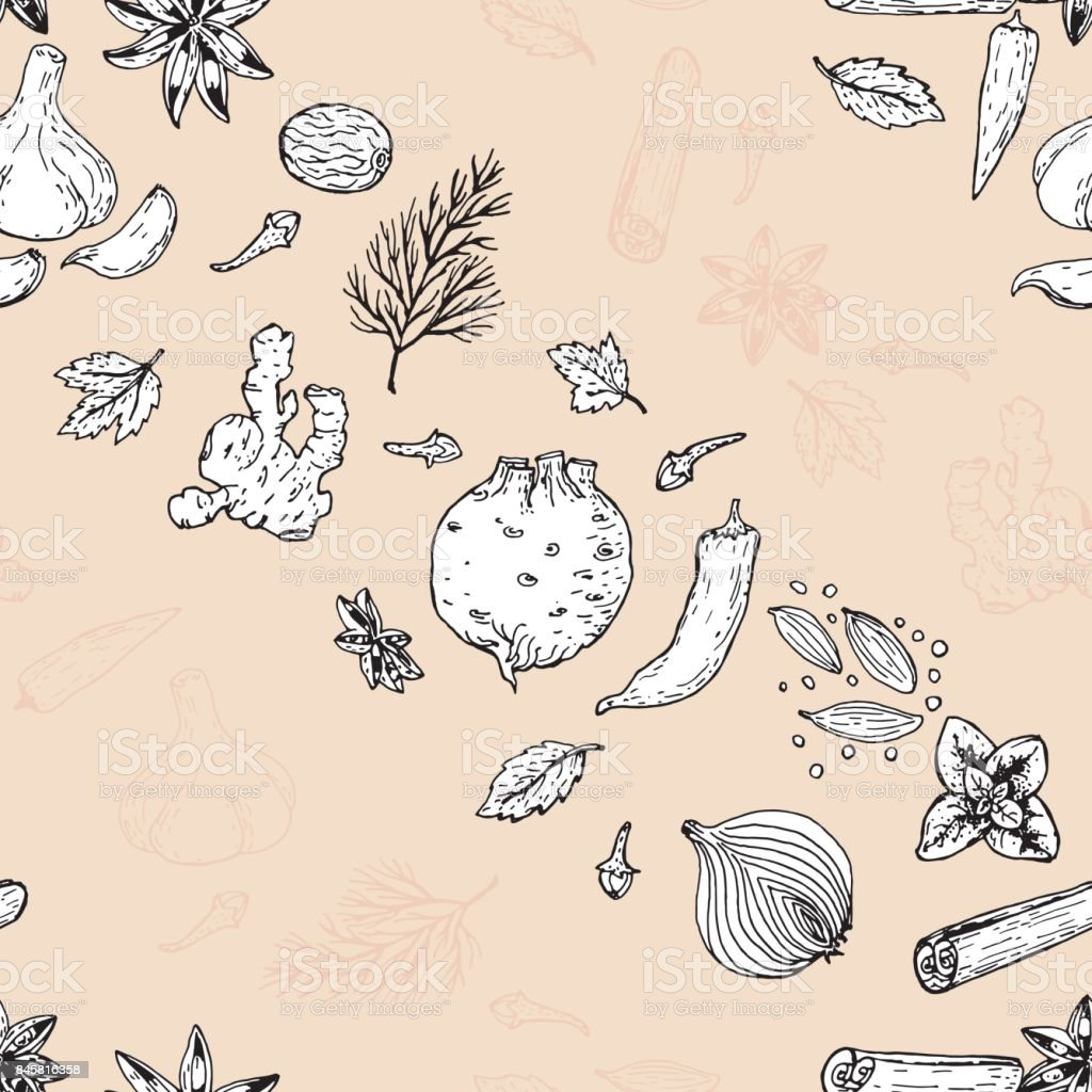 seamless pattern with spices and herbs vector art illustration