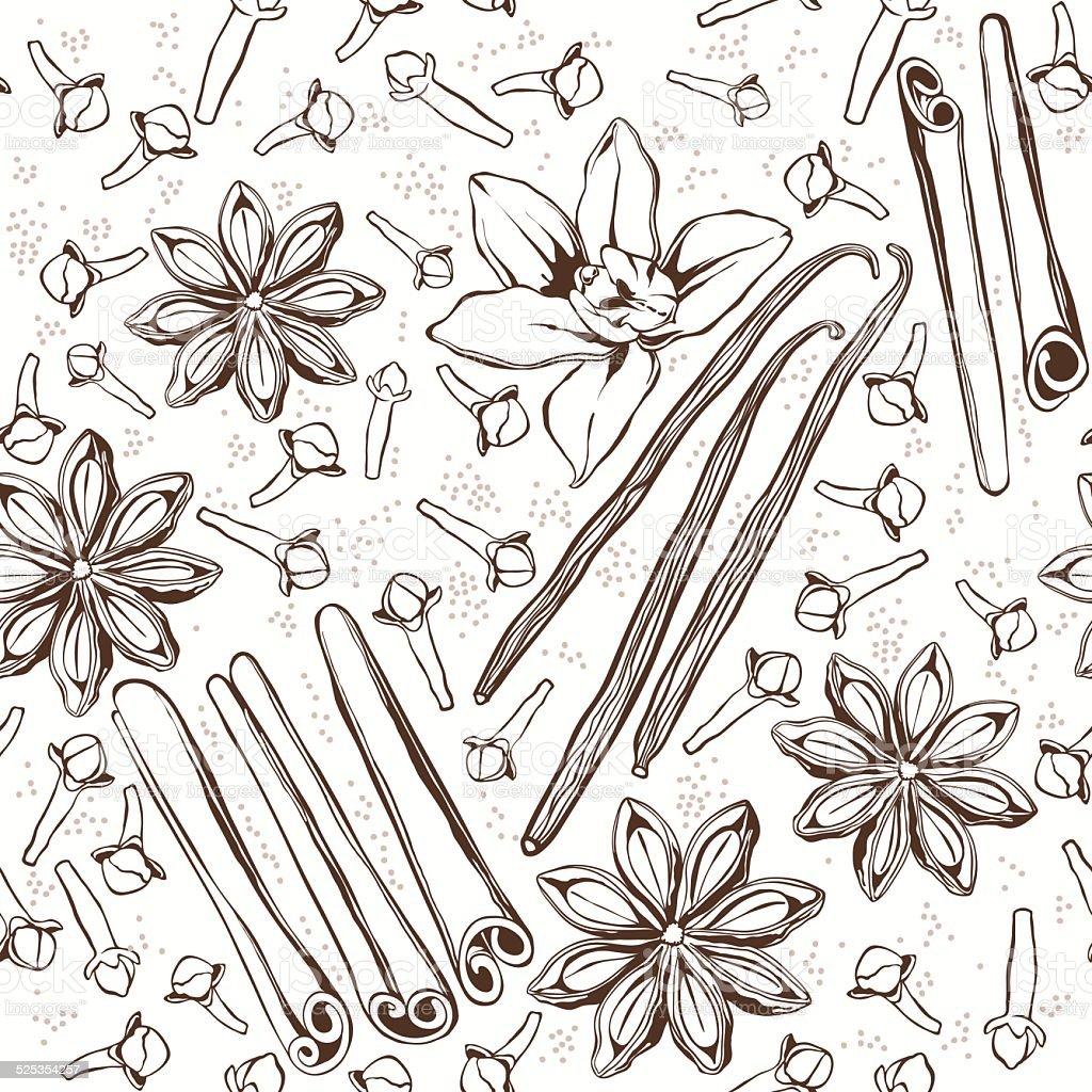 Seamless pattern with  spices: cinnamon, star anise, vanilla, cloves. vector art illustration