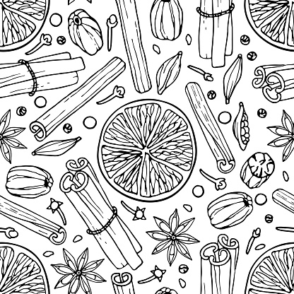 Seamless pattern with spices. Mulled wine ingredients. Hand drawn Winter elements. Doodle Outline vector illustration Hot winter drink recipe Christmas drinking. For wallpaper, wrapping, scrapbooking.