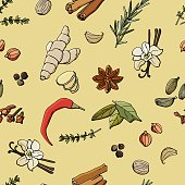 Seamless pattern with spices. Fragrant, spicy spices. Cartoon style illustration. Stock illustration. Design for wallpaper, background, fabric, textile, cafe, restaurant,  packaging.