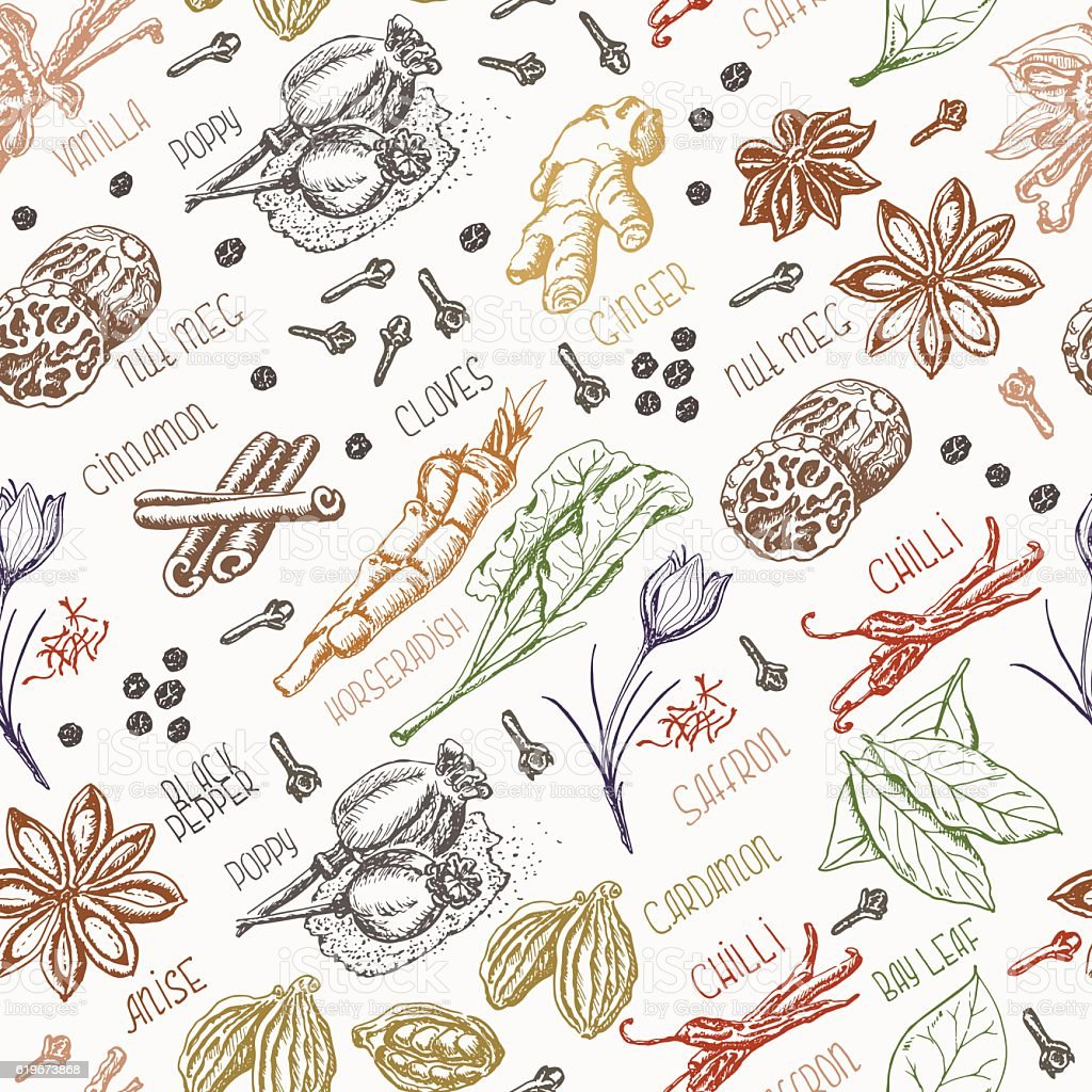 Seamless pattern with spices vector art illustration
