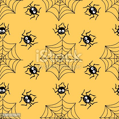 istock Seamless pattern with spiders and cobweb. Vector illustration isolated on orange background. Halloween texture 1331222471