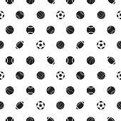 Seamless pattern with sport balls. Vector illustration.