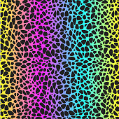 Seamless abstract iridescent pattern with small spots of leopard, animal rainbow pattern