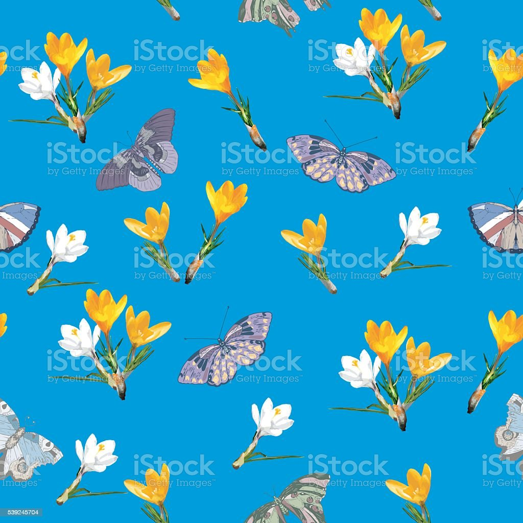 Seamless Pattern With Spring Flowers And Butterflies Stock Vector