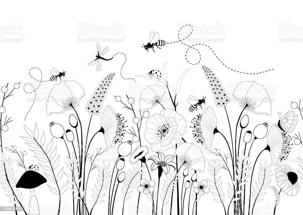 Nahtloses Muster mit Frühlingsblumen und Insekten – Vektorgrafik