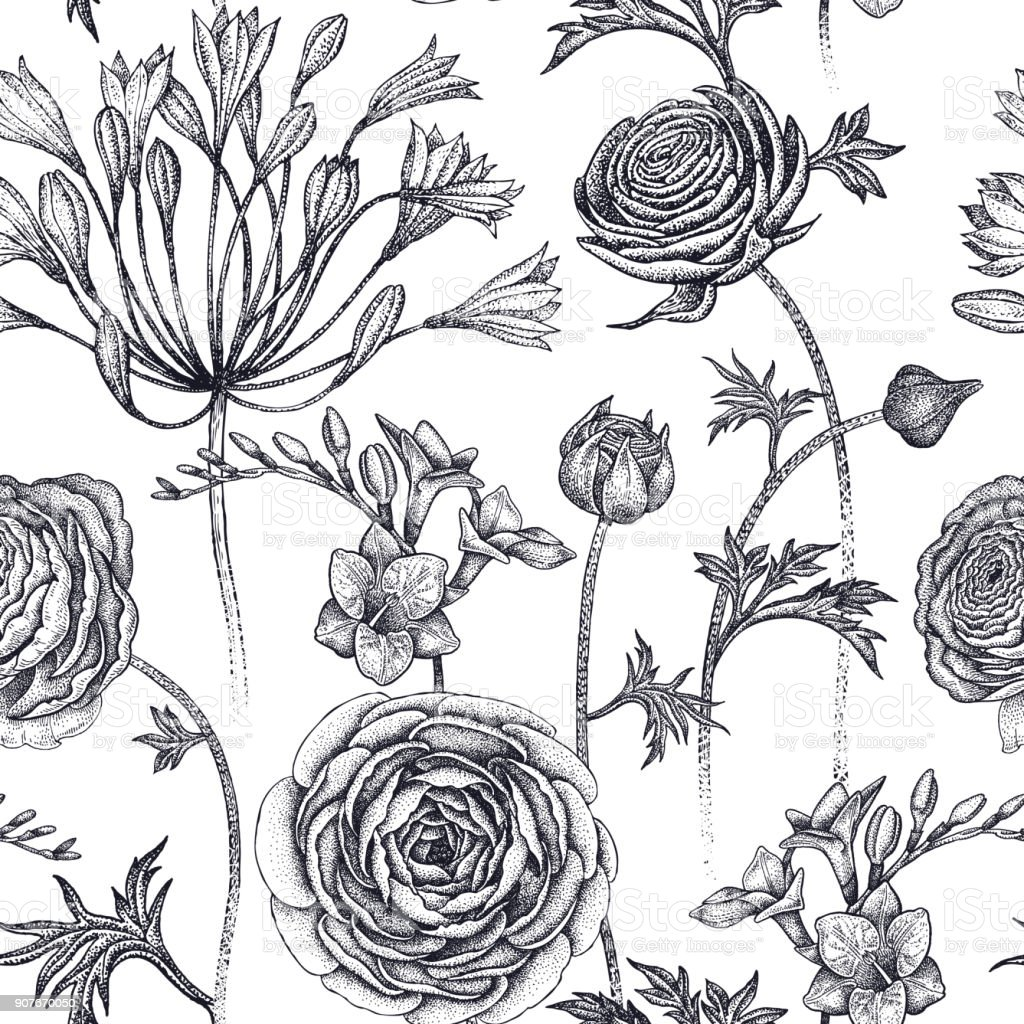 Seamless pattern with spring flowers. vector art illustration
