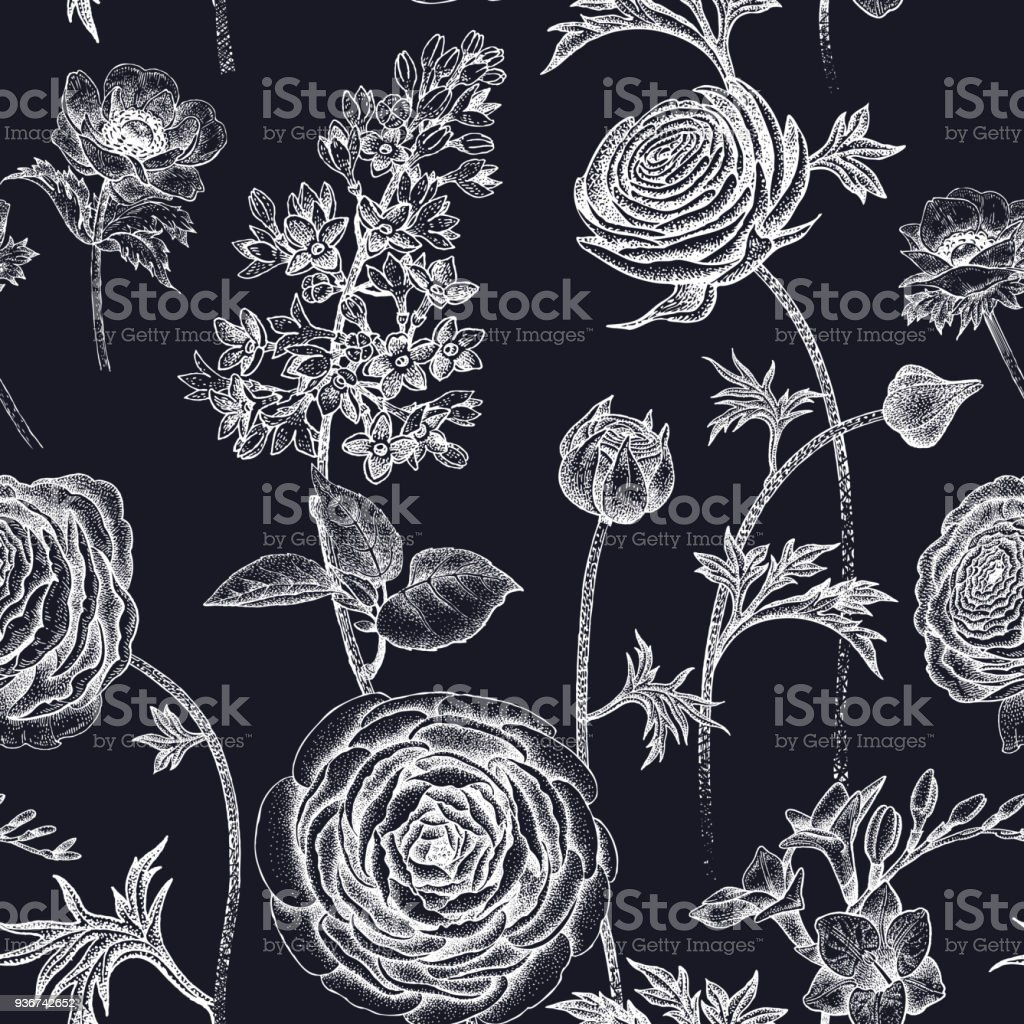 Seamless pattern with spring flowers white on black stock vector art seamless pattern with spring flowers white on black royalty free seamless pattern with spring mightylinksfo