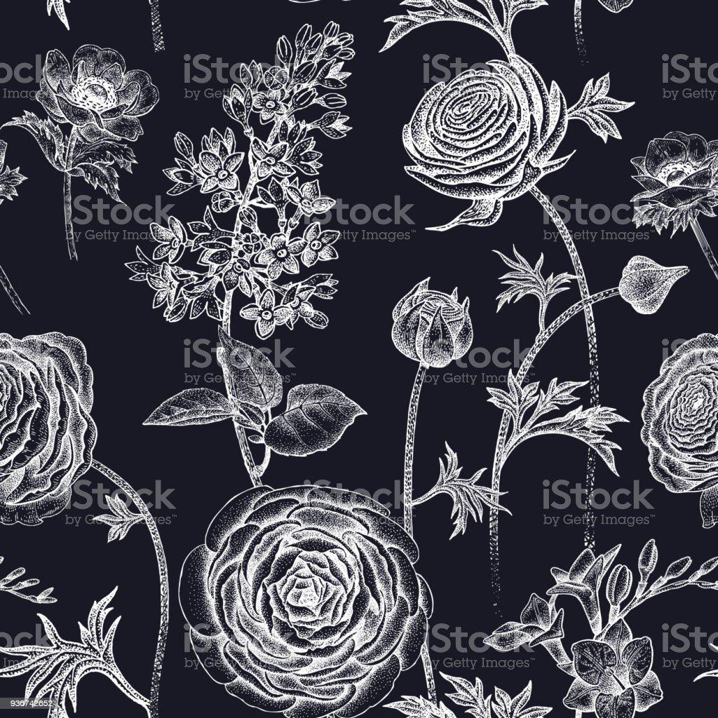 Nahtlose Muster Mit Fruhlingsblumen Weiss Auf Schwarz Stock Vektor