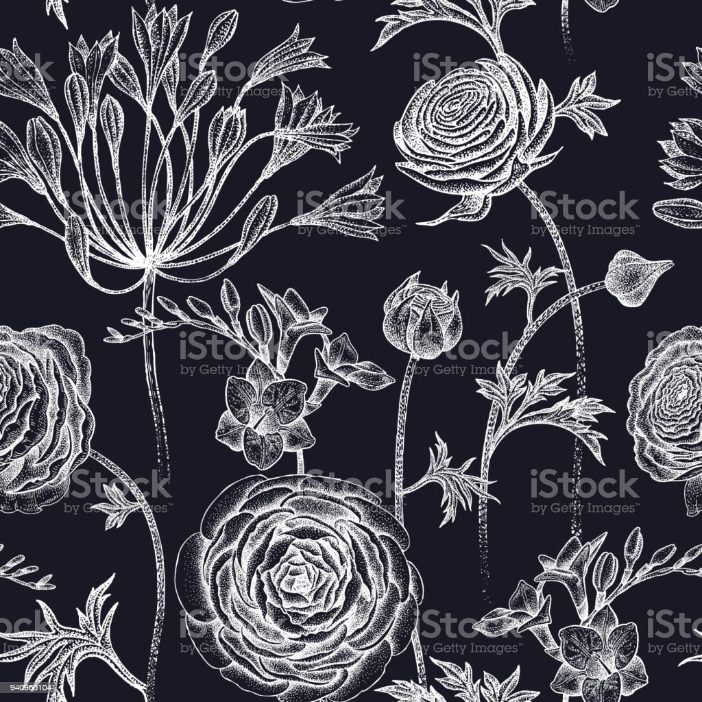 Seamless pattern with spring flowers white on black. vector art illustration