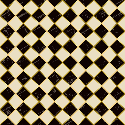 Seamless pattern with squares in dark brown, ivory white and golden outline and texture