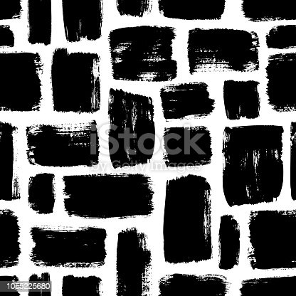 Seamless pattern with squares. Geometric mosaic background. Vector textured hand drawn pattern. Abstract background with brush strokes.