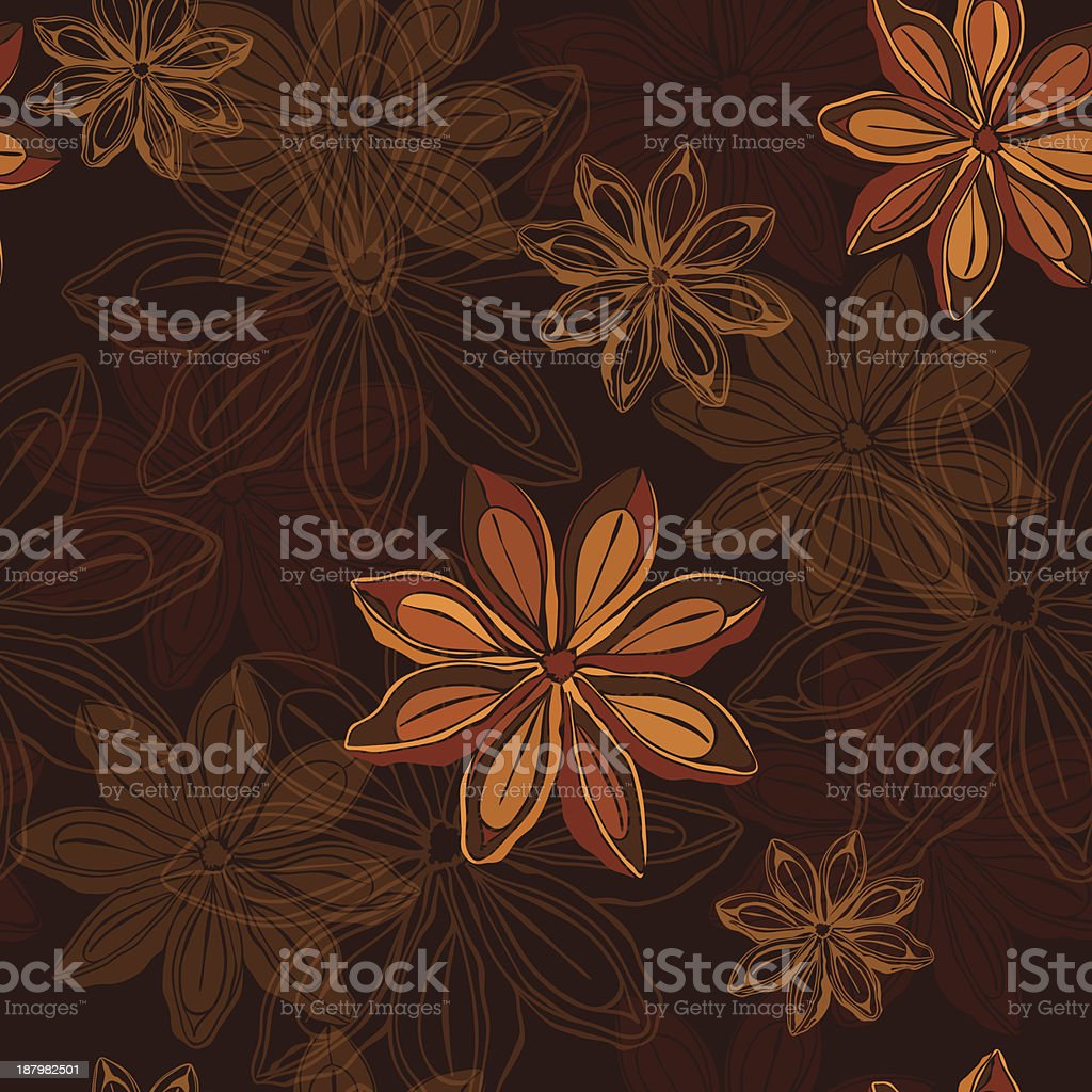 Seamless pattern  with star anise. royalty-free seamless pattern with star anise stock vector art & more images of anise