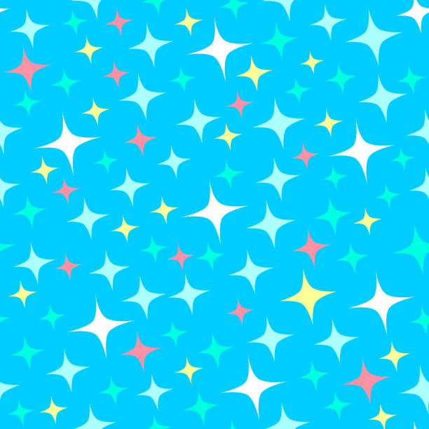 Seamless pattern with starlight sparkles, twinkling stars. Shining blue background. Cartoon style. Seamless pattern with starlight sparkles, twinkling stars. Shining blue background. Cartoon style. Good for wrapping paper or festive design for kids holidays. blinking stock illustrations