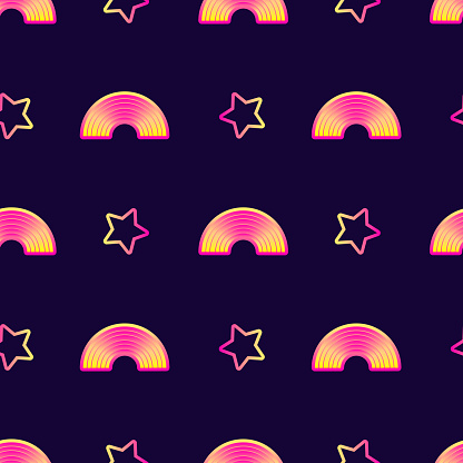 Seamless Pattern With Stars And Rainbows Night Sky Background Cute Kawaii Wallpaper Stock Illustration Download Image Now Istock