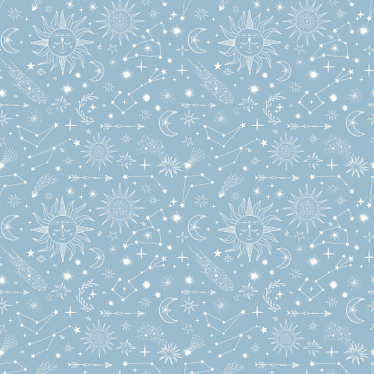 Seamless pattern with stars, comets, suns, moon, constellation, Sky repeat background.