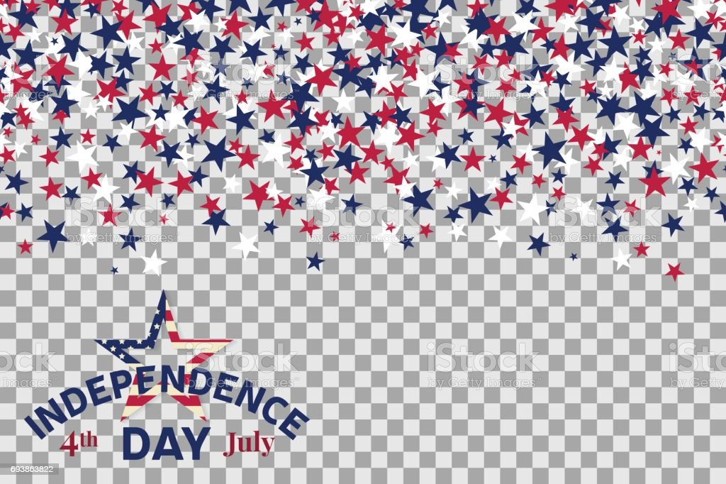 Seamless pattern with stars for 4th of July celebration on transparent background vector art illustration