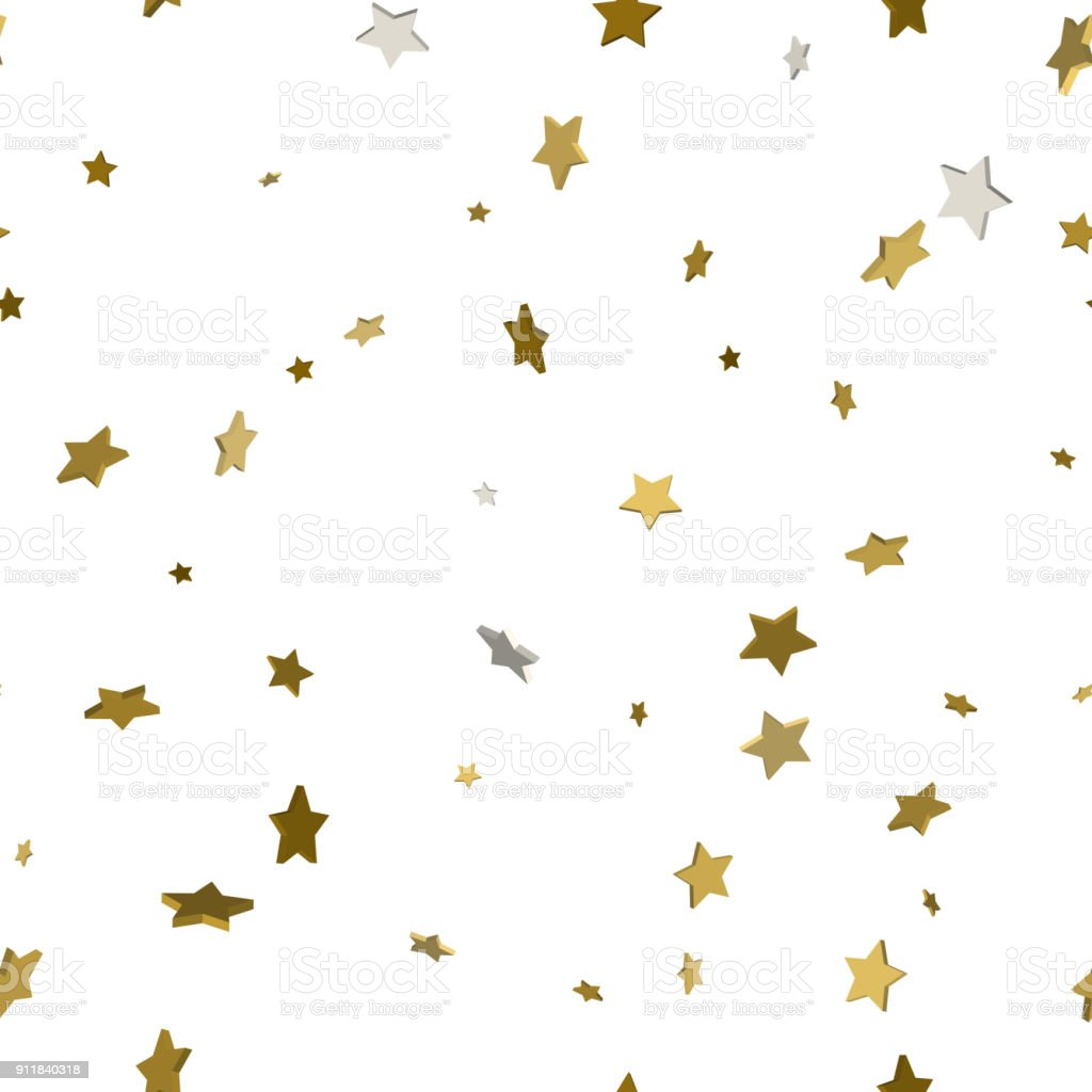 Modèle sans couture avec des étoiles. Étoiles d'or pour votre conception. 3D concept d'étoiles d'or. Illustration vectorielle. - Illustration vectorielle