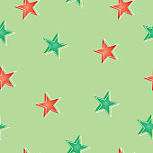 seamless pattern with stars in red and green colors