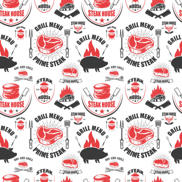 ilustrações de stock, clip art, desenhos animados e ícones de seamless pattern with steak house symbols. grill, bbq, fresh meat. design element for poster, menu, flyer, banner, menu, package. - meat texture