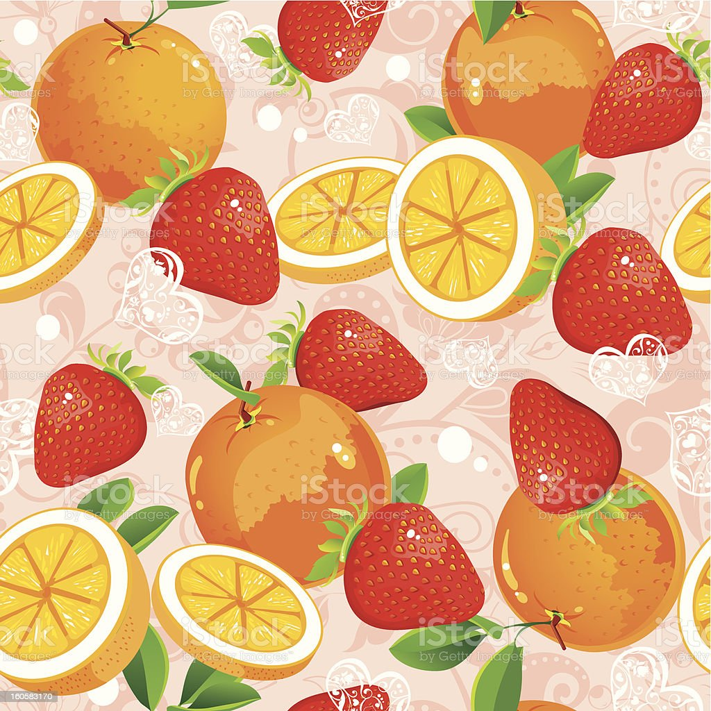 Seamless pattern with strawberry and oranges royalty-free stock vector art