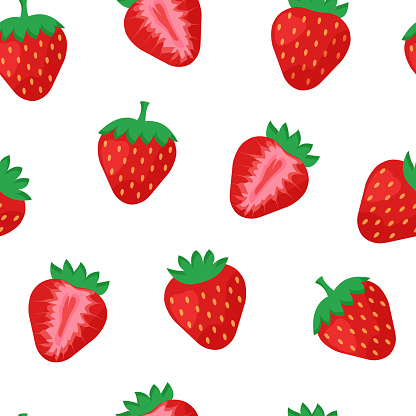 Seamless pattern with strawberry whole and half isolated on white background. Vector illustration