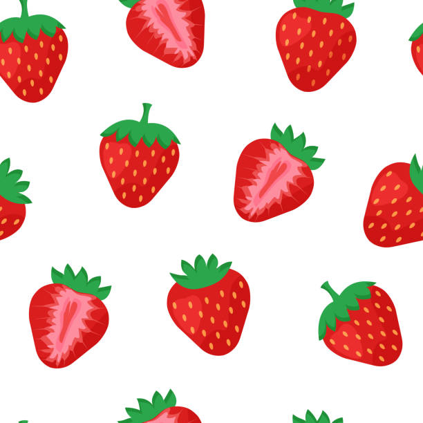 illustrazioni stock, clip art, cartoni animati e icone di tendenza di seamless pattern with strawberry whole and half isolated on white background. vector illustration - fragole