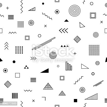 Seamless pattern with   style. Abstract geometric background with different geometrical shapes triangles, circles, arrows. Vector trendy design. Wallpaper, cloth design, fabric, paper, textile.