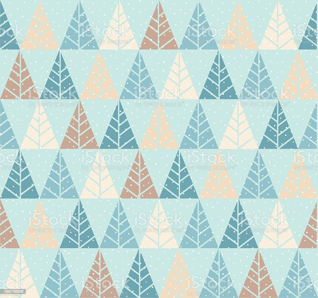 Seamless pattern with stylized tree and snowfall. vector art illustration