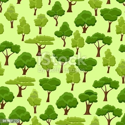 Seamless Pattern With Stylized Trees Cartoon Garden Green Tree ...