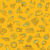 Seamless Pattern with Summer Beach Line Objects.