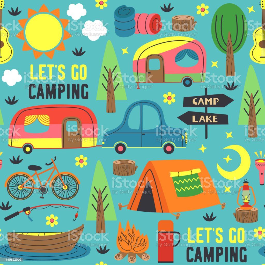 seamless pattern with summer camping - vector illustration, eps