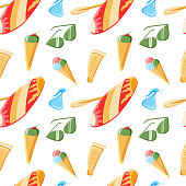 istock Seamless pattern with summer elements. Surf, glasses, ice cream and SRF tools. Summer. Beach. Vector executed in a flat style. Relaxation. 1310976059