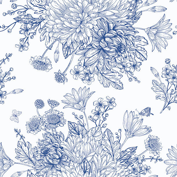 bildbanksillustrationer, clip art samt tecknat material och ikoner med seamless pattern with summer flowers. - flower bouquet blue and white
