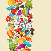 Seamless pattern with summer stickers. Background made without clipping mask
