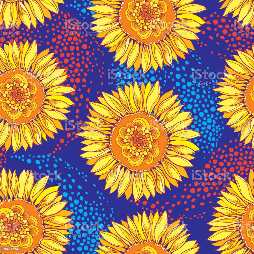 Seamless Pattern With Sunflower Or Helianthus Flower In Yellow And