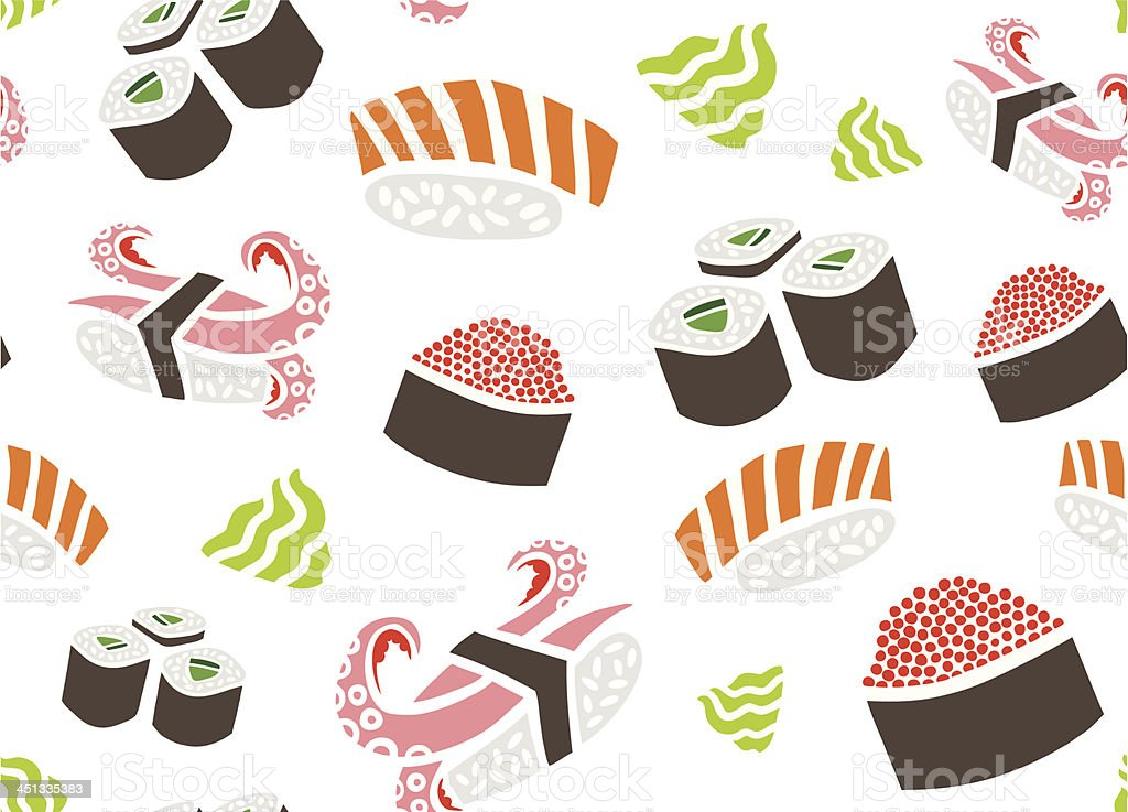 Seamless Pattern with Sushi and Wasabi royalty-free stock vector art