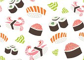 Seamless Pattern with Sushi and Wasabi