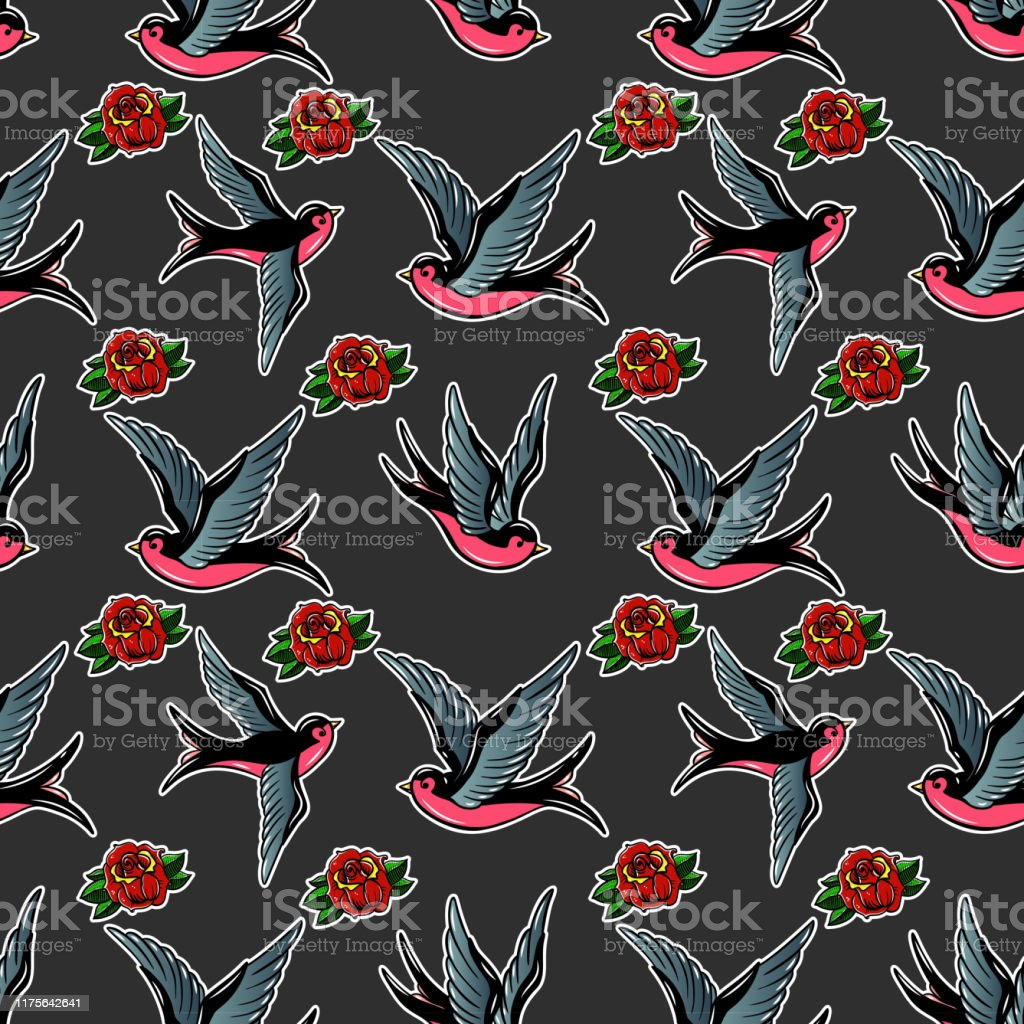 Seamless Pattern With Swallows And Roses In Old School Tattoo Style For Poster Card Banner Flyer Vector Illustration Stock Illustration Download