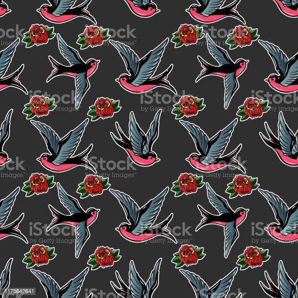 Seamless pattern with swallows and roses in old school tattoo style vector id1175642641?b=1&k=6&m=1175642641&s=612x612&h=ix2slxuun meegxl8kpyn5msk6kotxxvoaiq5eazios=