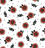 Old school tattoo vector seamless pattern with flower, twig . Valentine's Day or wedding designs. Print Fabric, bag, books.