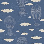 Seamless pattern with sweet hand drawn balloons