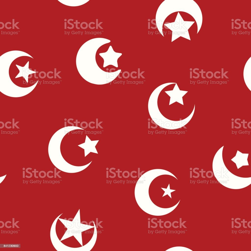 Seamless Pattern With Symbol Of Islam Crescent Moon Stock Vector Art