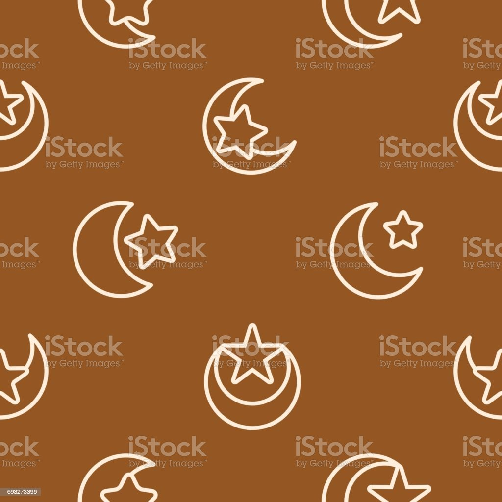 Seamless Pattern With Symbol Of Islam Crescent Moon With Star Stock