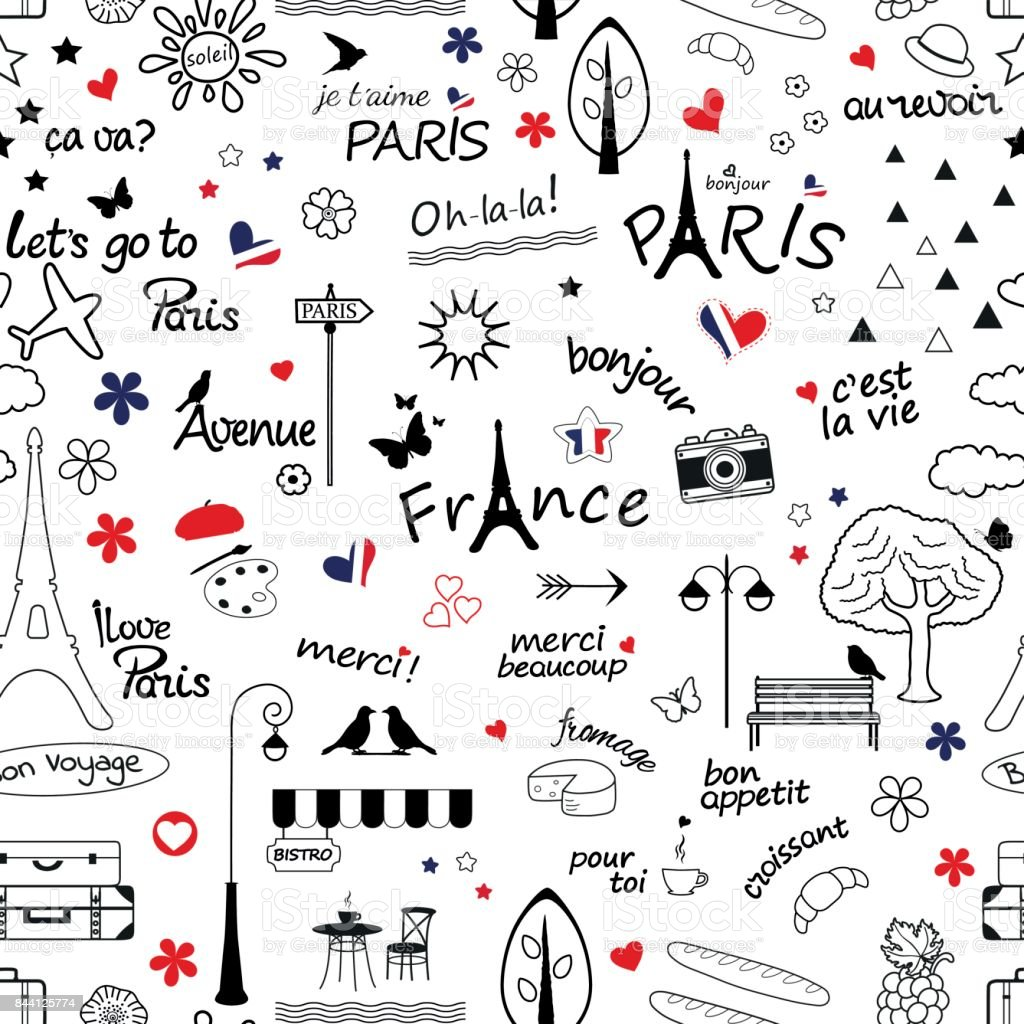 Seamless Pattern With Symbols Of France Stock Vector Art More