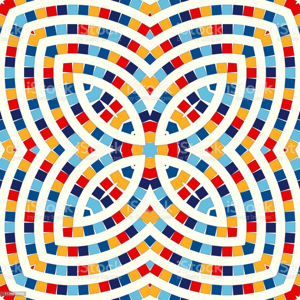 対称的な幾何学的な装飾が施されたシームレスなパターン抽象的なステンドグラスの明るい背景エスニック壁紙 しみのベクターアート素材や画像を多数ご用意 Istock