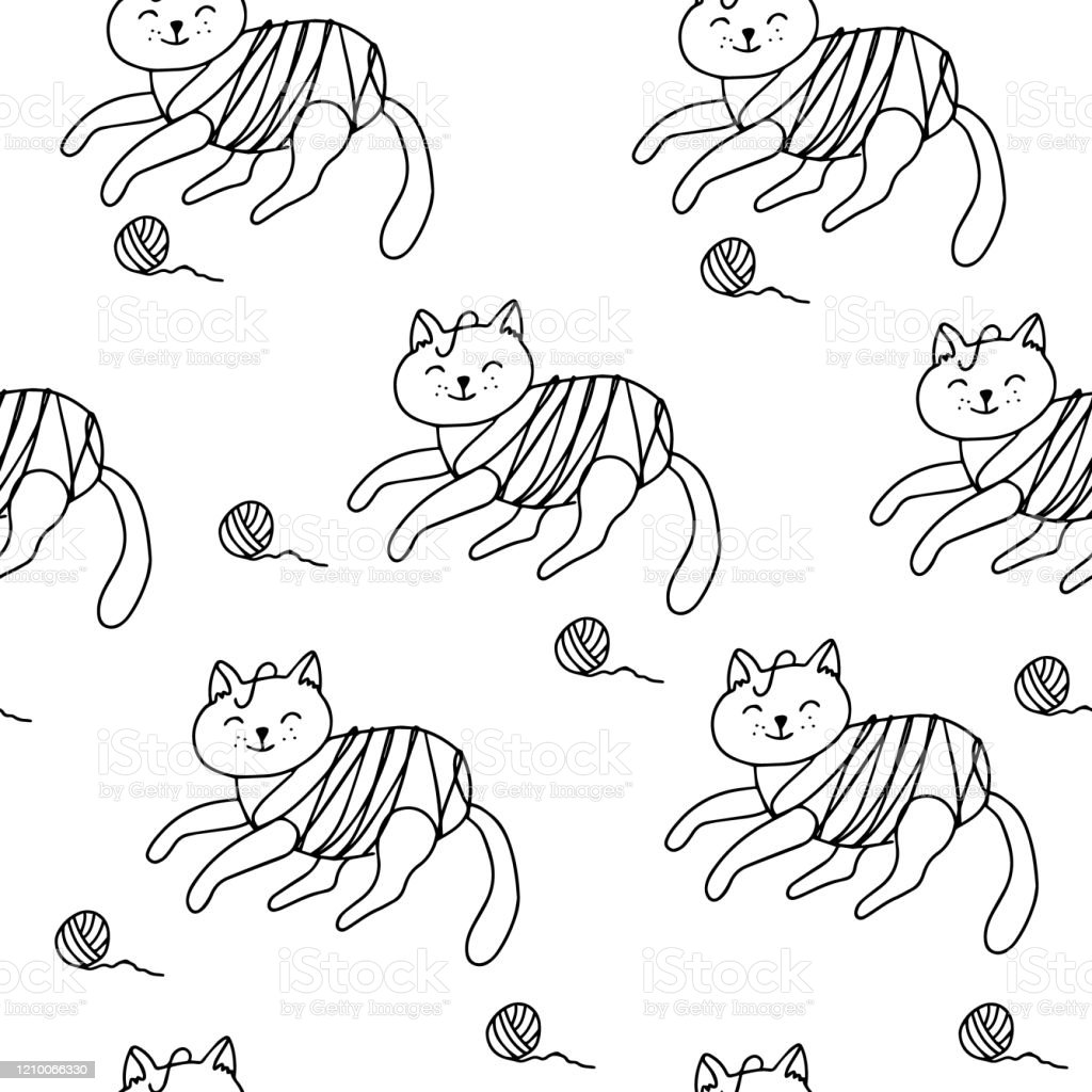 Seamless Pattern With Tangled Yarn Cats Doodle Stock Illustration Download Image Now Istock